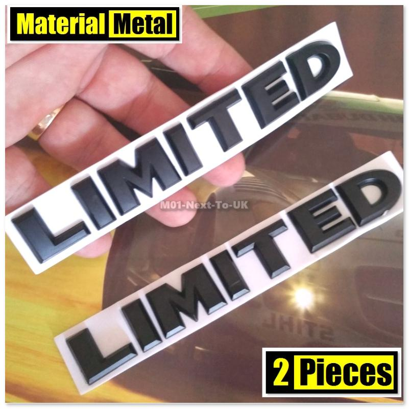 2x LIMITED BLACK MATT HQ 3D Chrome Metal Car Trunk Badge Auto Fender S