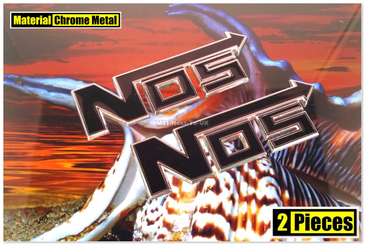 2x NOS BLACK 11cm HQ Chrome 3D Metal Car Trunk Badge Side Auto Emblem