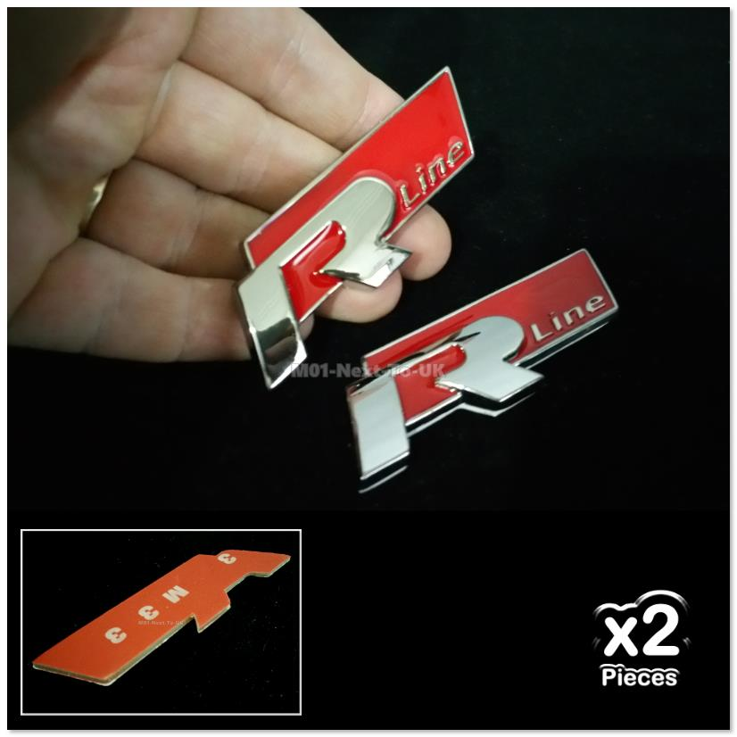 2x R Line RED Metal Alloy 3D Chrome Car Badge Decal Emblem Trunk Side