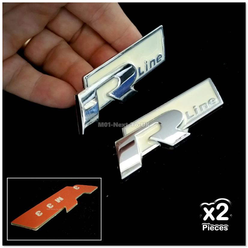 2x R Line WHITE Metal Alloy 3D Chrome Car Badge Decal Emblem Trunk Sid