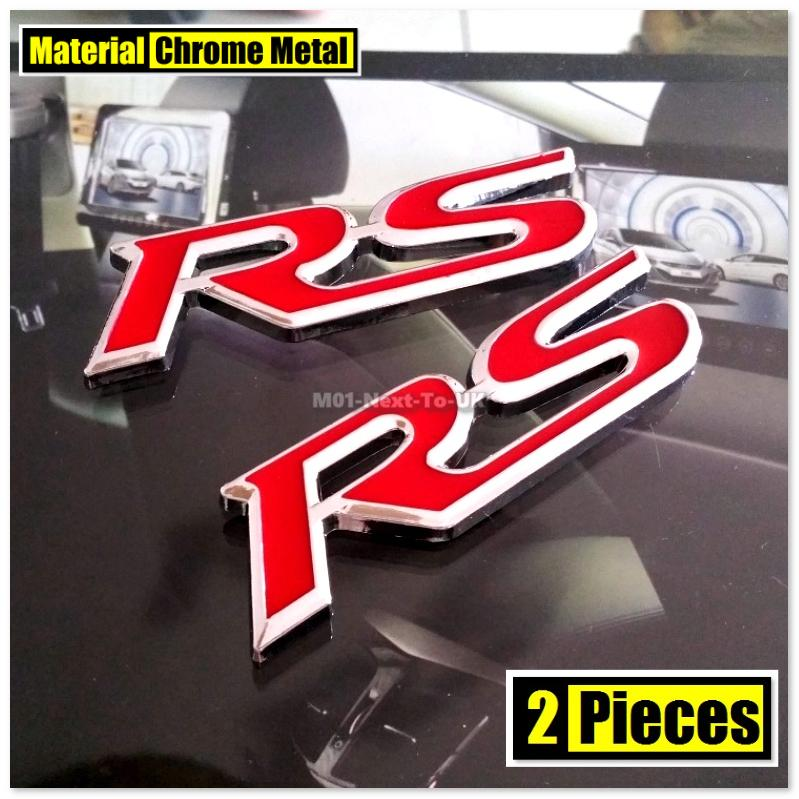 2x RS RED 9.2cm HQ Chrome 3D Metal Car Trunk Badge Side Auto Emblem Lo