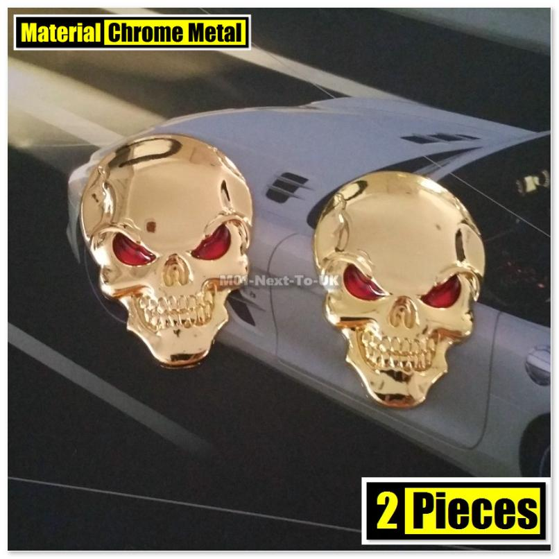 2x Skull Skeleton Demon GOLD 5cm HQ 3D Metal Car Trunk Badge Side Auto