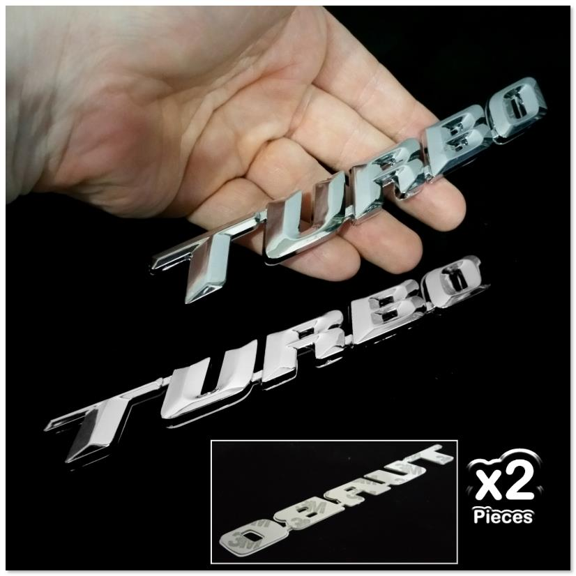 2x TURBO 3D Chrome Car Badge Decal Emblem Trunk Side Logo Insignia Aut