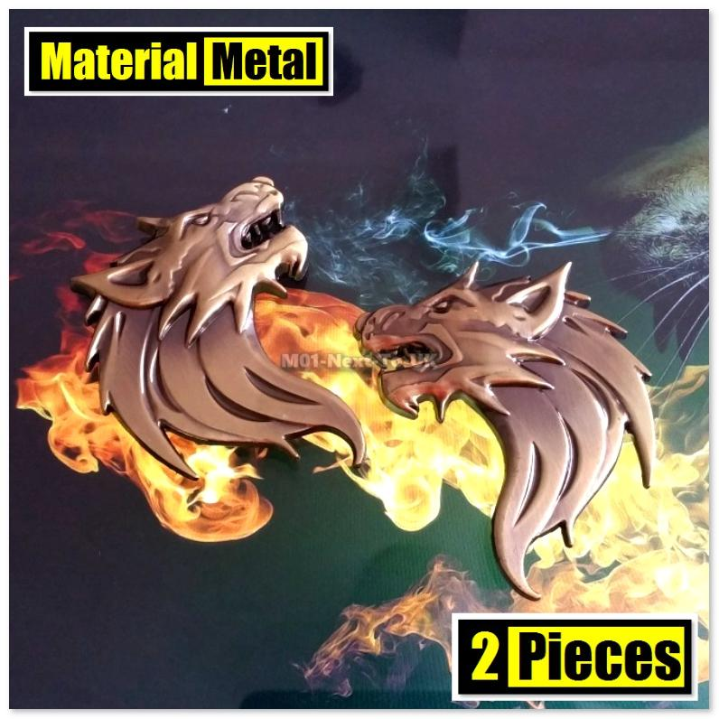 2x WOLF BRONZE 7.5cm HQ 3D Metal Car Trunk Badge Side Auto Emblem Logo