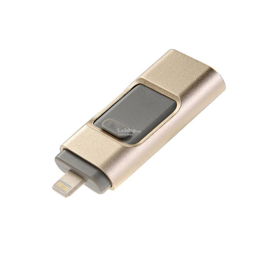 3 in 1 Flash Drive OTG Pendrive Apple Android PC 8 16 32GB Metal Gold