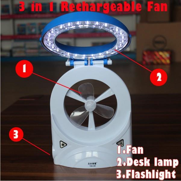 3 in 1 LED Rechargeable Fan ,Table Lamp & Torch Light