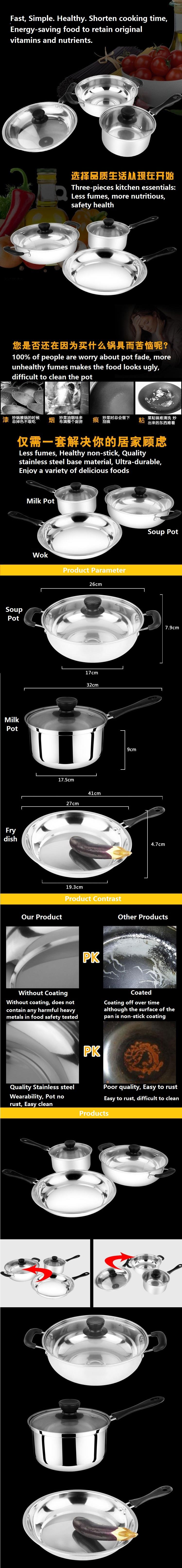 3-In-1 Stainless Steel Set Of Cookware