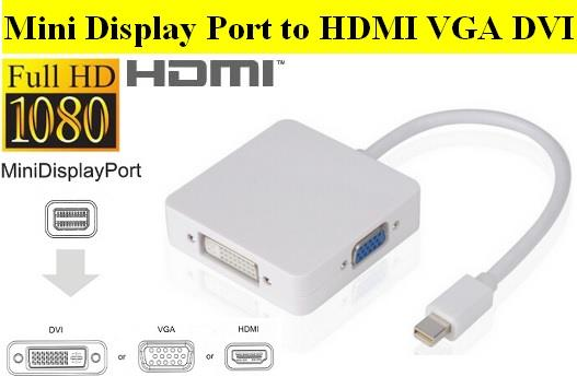3 in 1 Thunderbolt Mini DP to HDMI VGA DVI Adapter Cable for MacBook