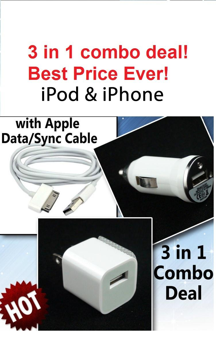 3 in 1 travel & car Charger for Apple iPhone 4S 4 3G 3Gs New Ipad 3