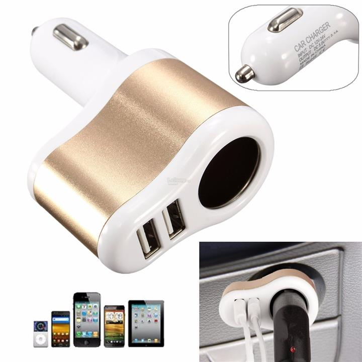3.1A Dual 2 USB Ports One Way Car Cigarette Lighter Power Socket Char
