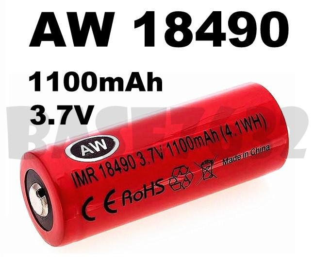 3.7V AW IMR 18490 1100mAh Button Top Rechargeable Li-Ion Battery