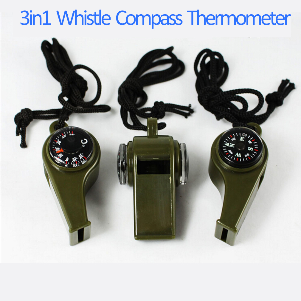 3 in1 Whistle Compass Thermometer For Outdoor Emergency Gear Camping S..