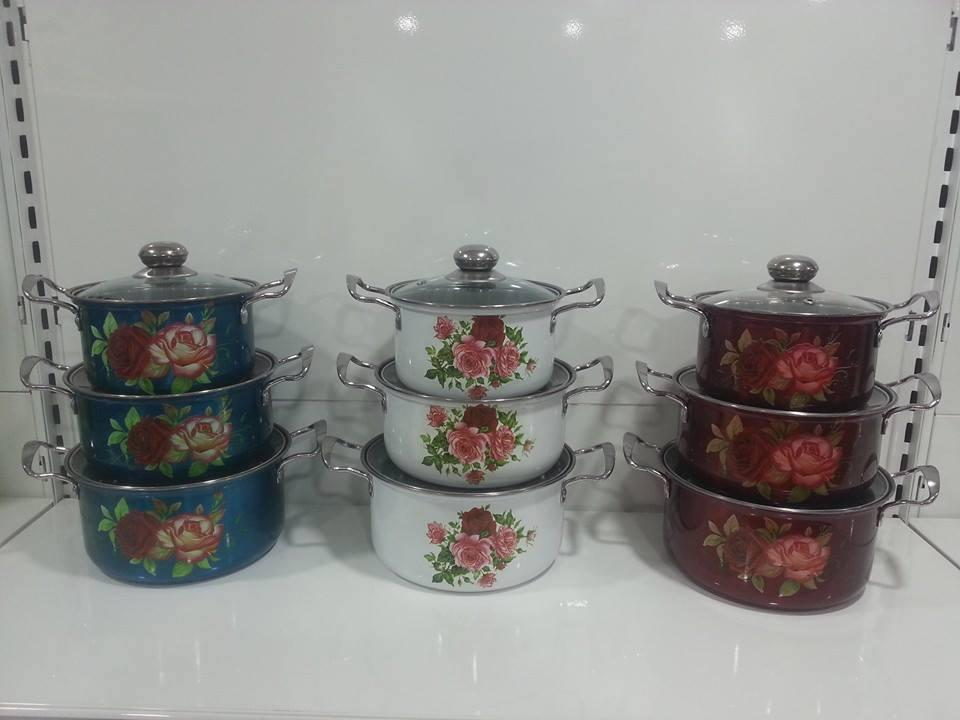 3 PCS SOUP POT WITH GLASS LID ( 1.5KG )