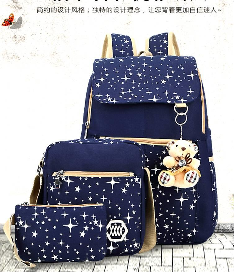 3 PIECES BAG IN BAG TEDDY BEAR/43x36x18cm/ READY STOCK/