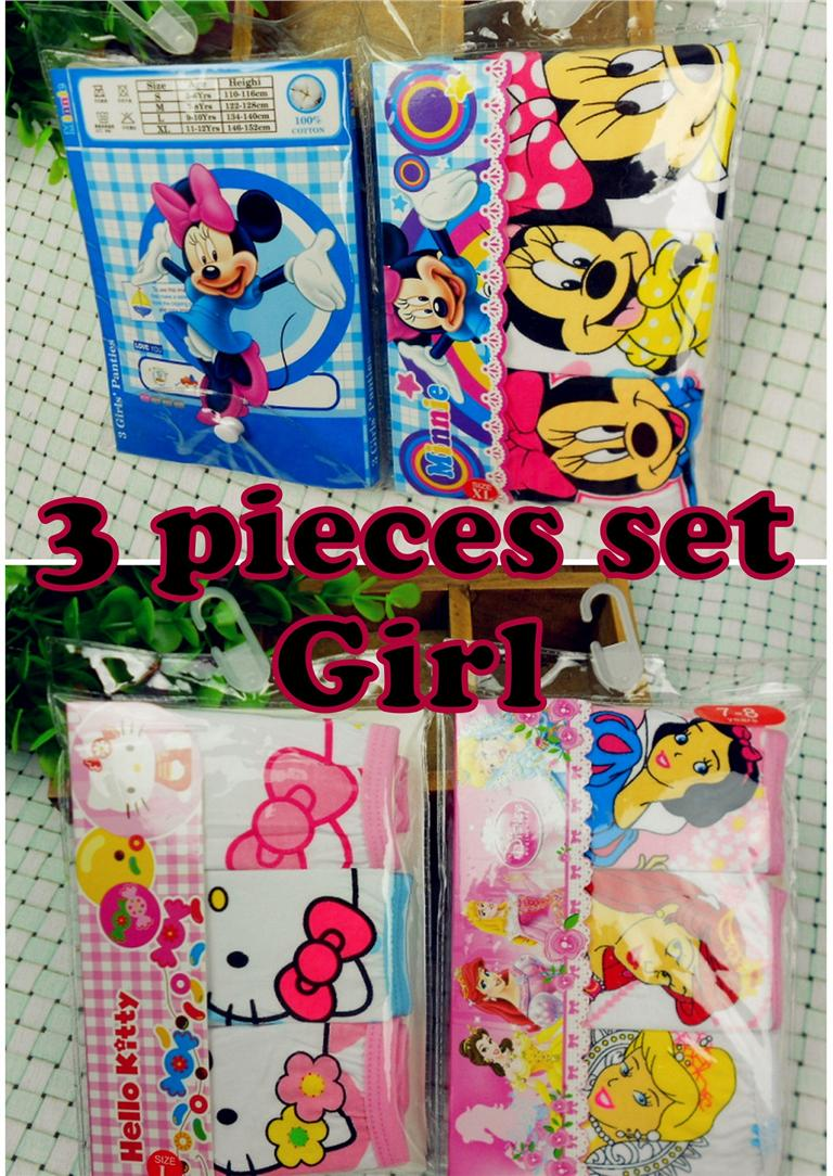 3 pieces set 100% Cotton cartoon Girl's underwear, panties