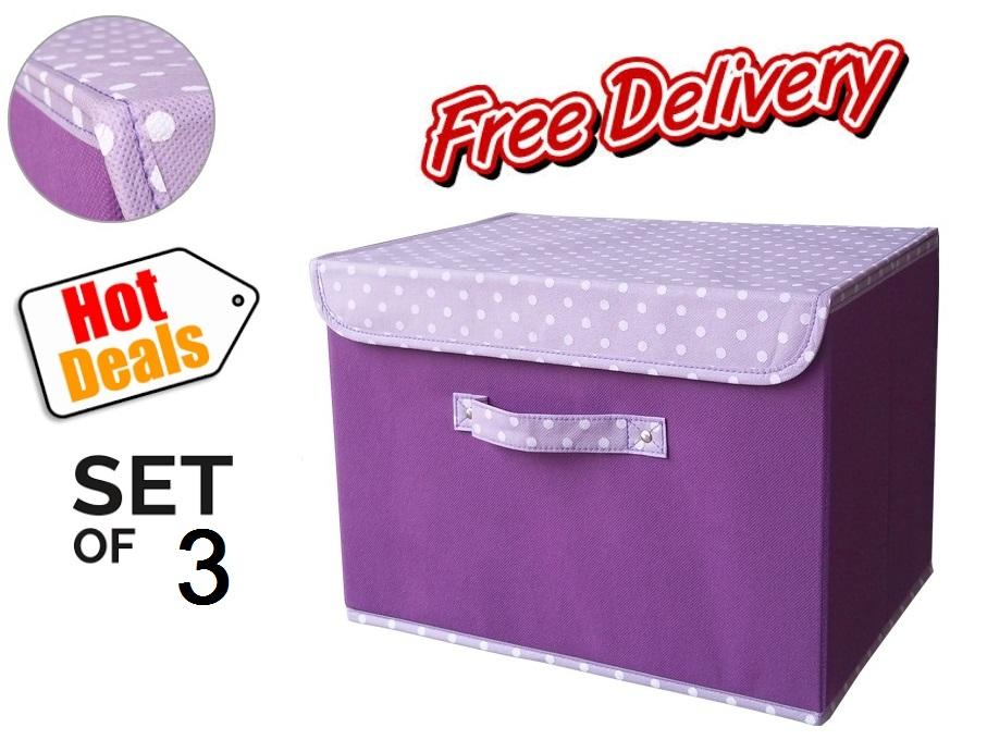 3 pieces per set -- A grade storage bin with cover -- Purple