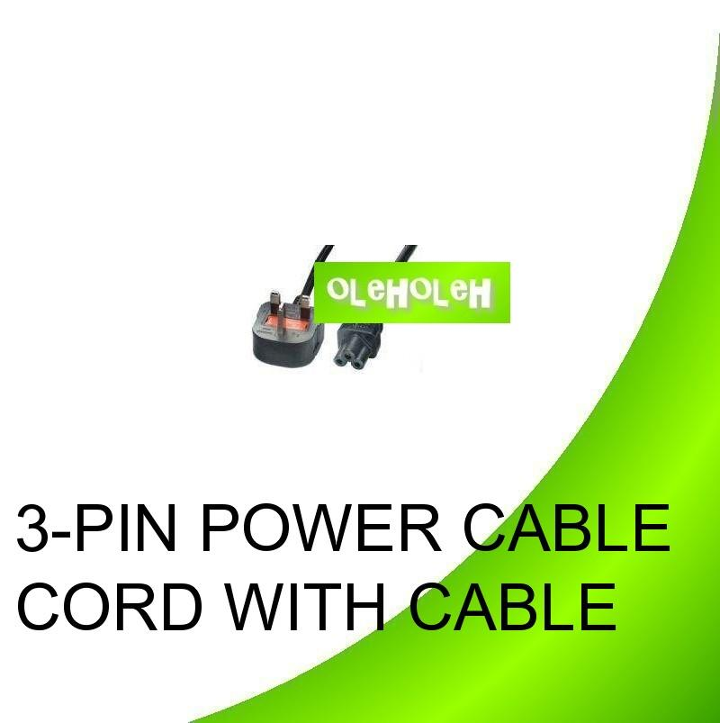 3-Pin Power Cable Cord With Fuse for Laptop Notebook AC Adapter