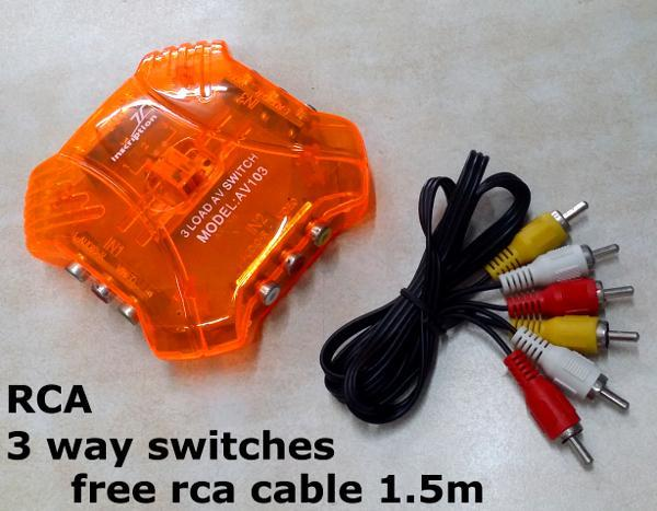 3 Way RCA TV AV Video Game 3 in 1 select Adapter video Switch Selector