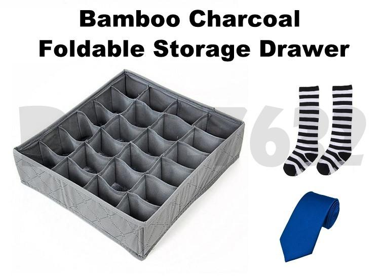30 Slots  Bamboo Charcoal Foldable Storage Organizer Drawer Box 1586.1