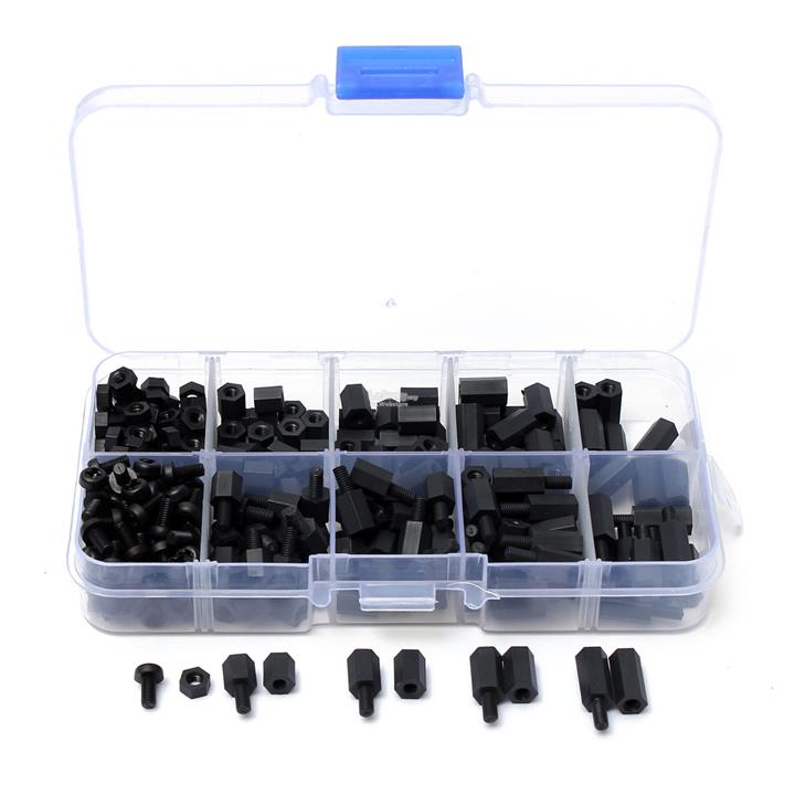 300pcs M3 Nylon Black Hex Screw Nut Spacer Stand-off Varied Length Ass