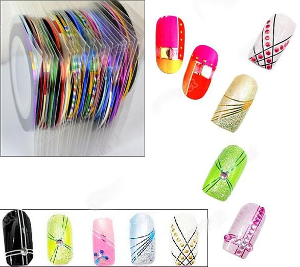 30Pcs Mixed Colors Rolls Striping Tape Line Nail Art Tips Decoration