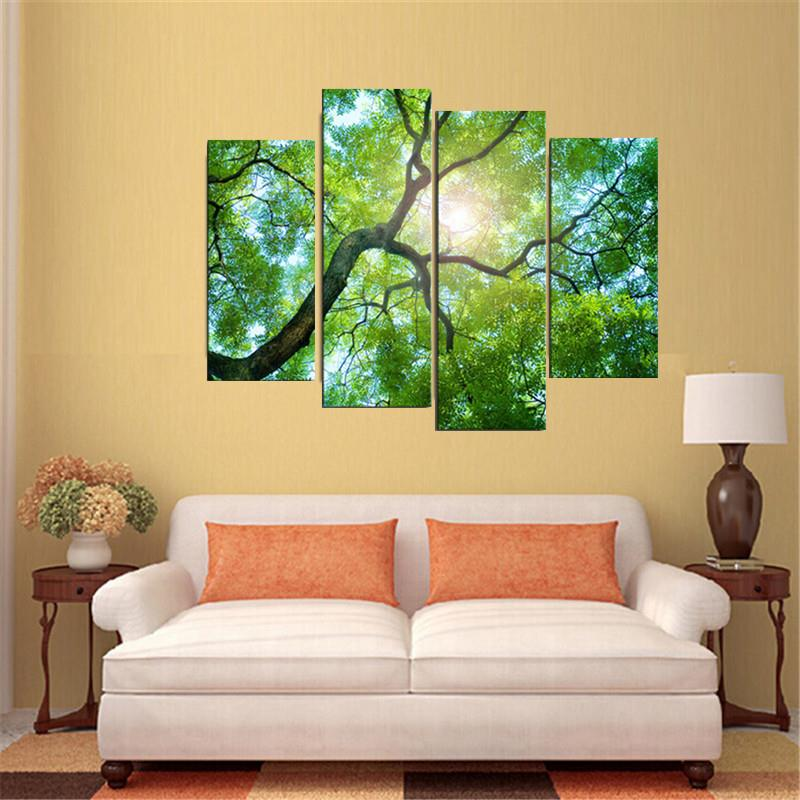30x80cm 4 Panels No Frame Green Tree Painting Canvas Modern Painting