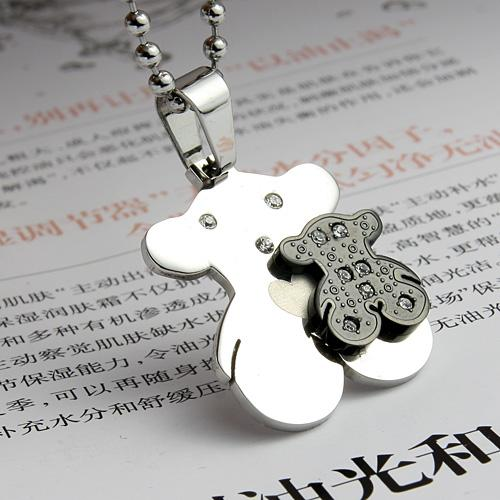 316L Stainless Steel Bear Necklace (Black)