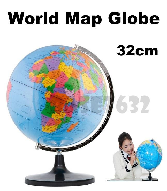 32cm  English World Map Globe Map with Swivel Base Stand Educational