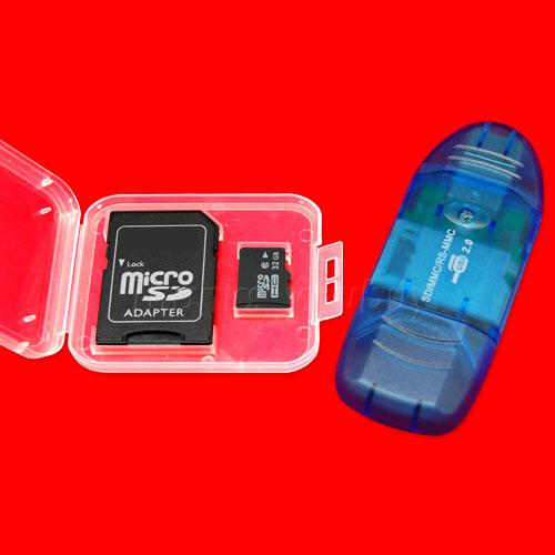 NEW 32GB MICRO SD Memory Card (Class 4) + Adapter + Reader