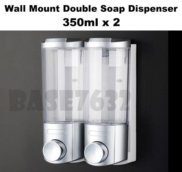 350ml*2 Wall Mounted Sanitizer Shampoo Soap Dispenser Double 1758.1