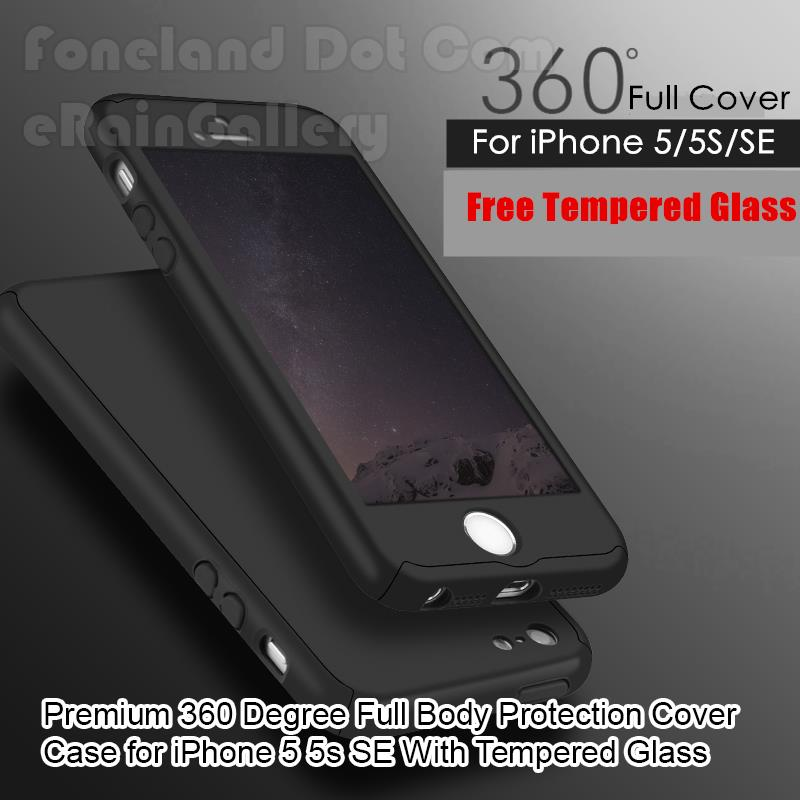 360 Full Protection Cover Case iPhone 5 5s SE With Tempered Glass