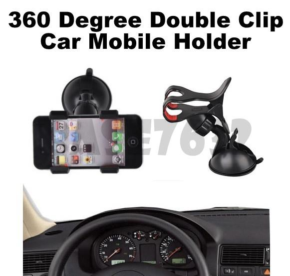 360 Rotation  Car Mobile Phone Double Twin Clip Holder  1723.1
