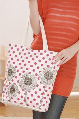 3903-cute graffiti on canvas tote bag---sunflower