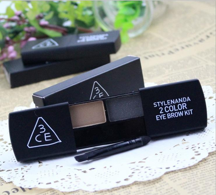 3CE 2 color waterproof eyebrow kit with brush