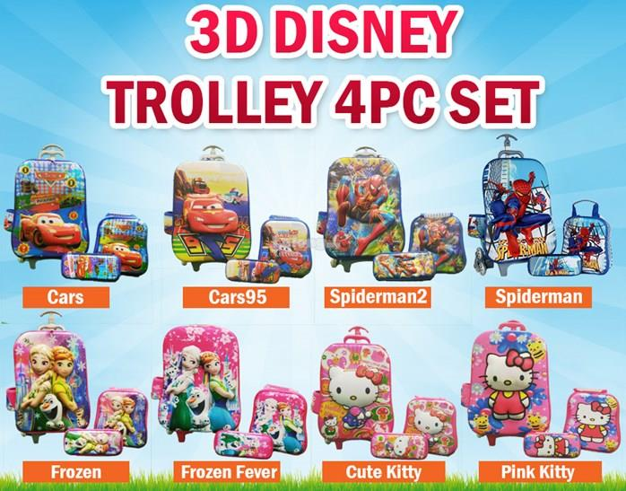 3D DISNEY TROLLEY BAG 4PC SET