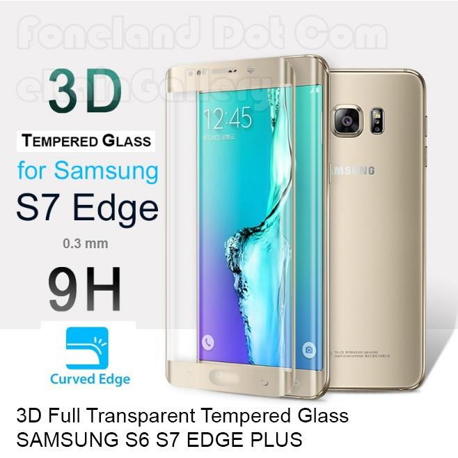 3D Full Transparent Tempered Glass Samsung S6 S7 EDGE PLUS