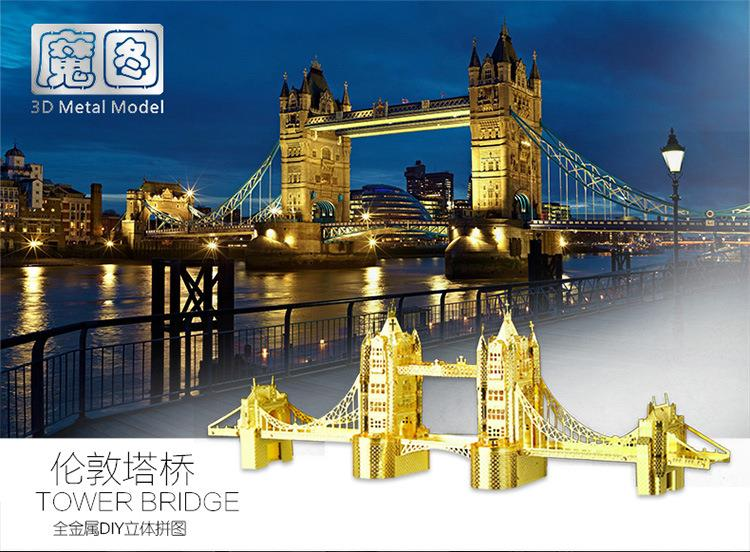 3D Models Metallic Nano Puzzle 3D Metal works Tower Bridge - Gold