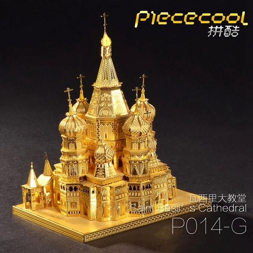 3D Puzzle Gold Metal Building Moscow Saint Basil Cathedral