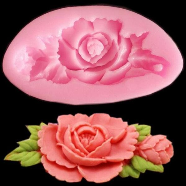 3D Silicone Rose Flower Cake Mould Soap Chocolate Resin Mould Random C