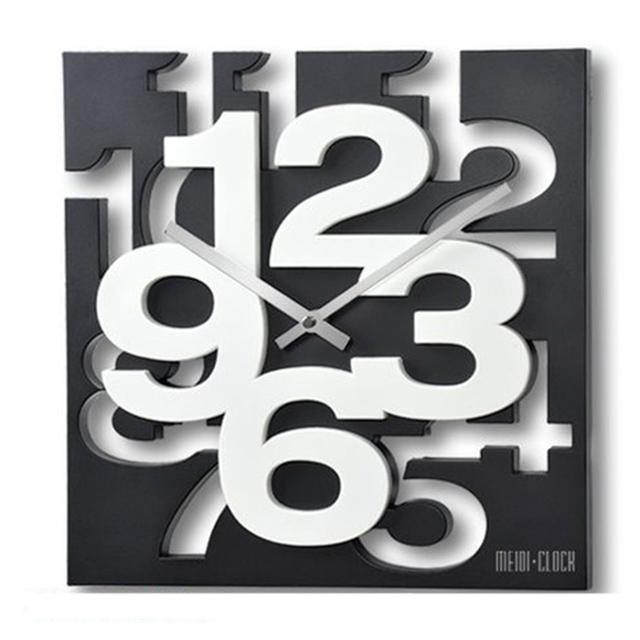 3D Wall Clock Square Art & Creative Clock by Meidi - Black