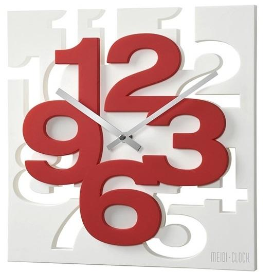 3D Wall Clock Square Art & Creative Clock by Meidi - Red