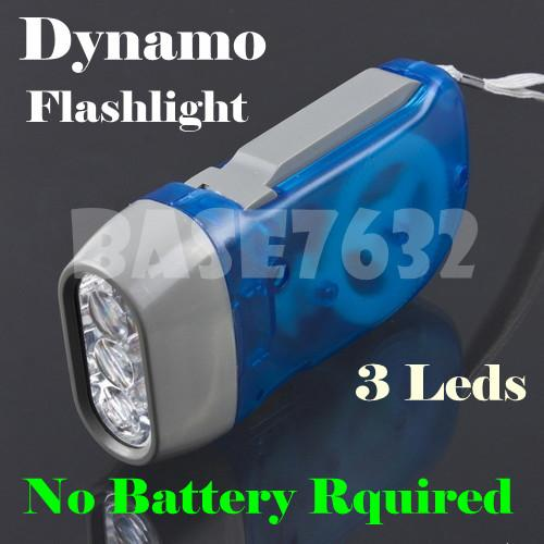 3Led Dynamo  Led Flashlight Flash Light Torch Light  No Need Battery