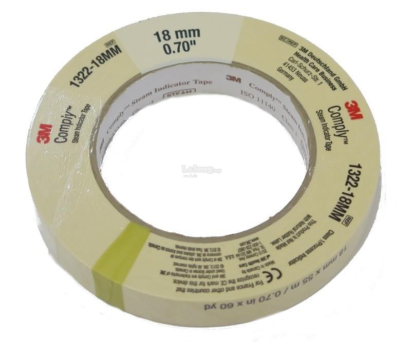 "3M AUTOCLAVE TAPE 3/4"" X 60YD FOR STEAM STERILIZATION"