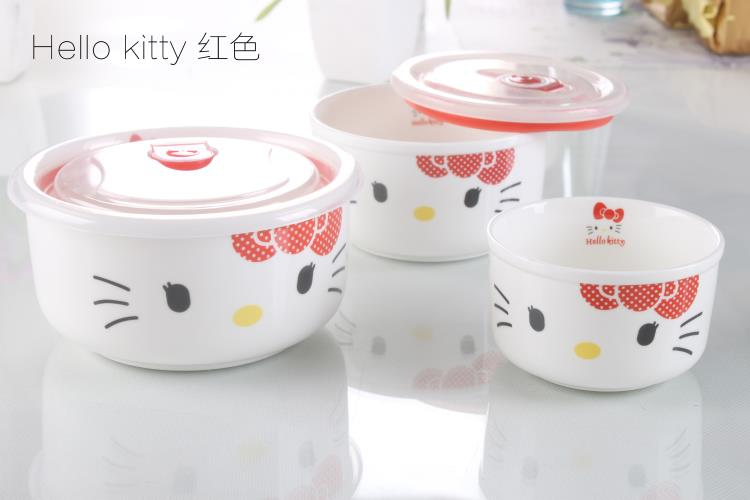 3pcs Hello Kitty Ceramic Microwave Bowl (Pink3/Red4)