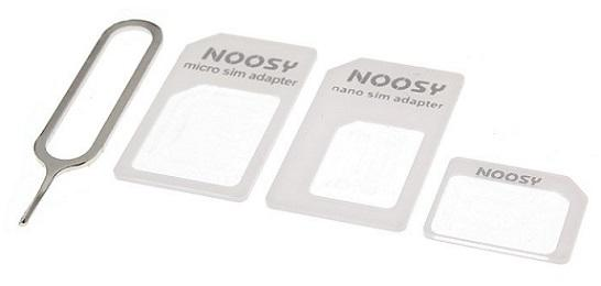 4 In 1 NOOSY Micro SIM Card Nano SIM Adapter (White)