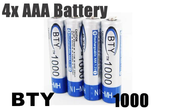 4 Pcs BTY 1000 1.2V AAA Ni-MH Rechargeable Battery Batteries  NEW