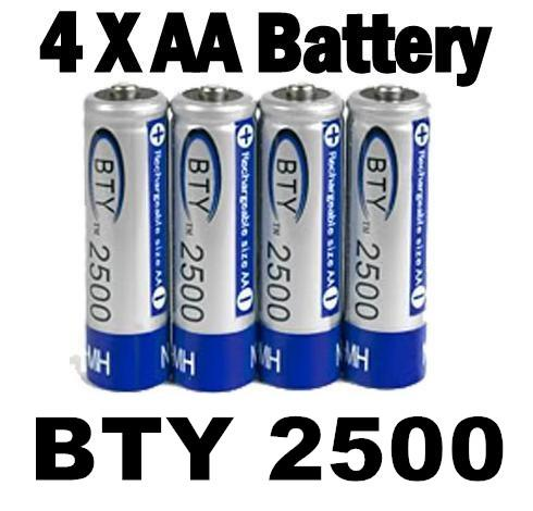 4 Pcs BTY 2500 1.2V AA Ni-MH Rechargeable Battery Batteries   NEW