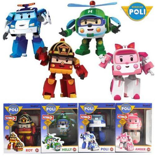 4 pcs Robocar Poli Ambe Roy Helly Robot Transformers Toys Kids