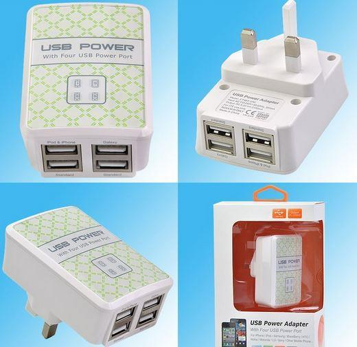 4 Port 5.0 Amp USB Charger Adapter for iPhone Ipad Samsung HTC Lenovo