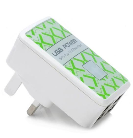4 Port UK Adapter USB Device